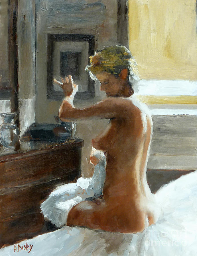 After Her Bath Painting by Ann Radley