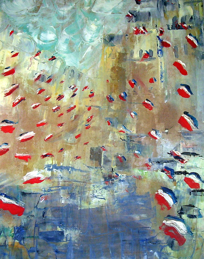Patriotism Painting - After Monets Rue Montorgueil by Michela Akers