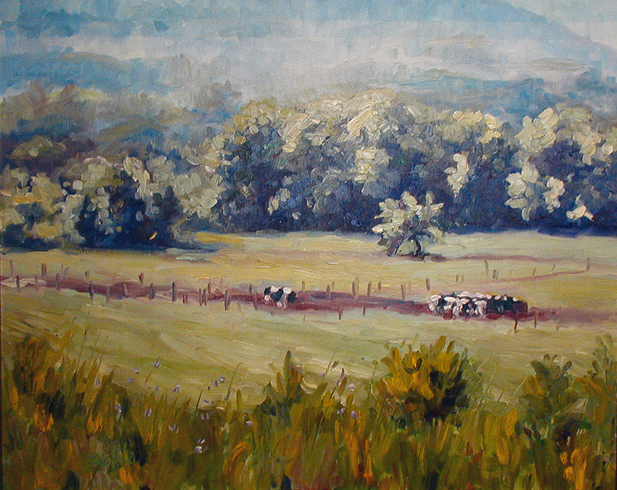Landscape Painting - After Morning Milking by Kathy Busillo