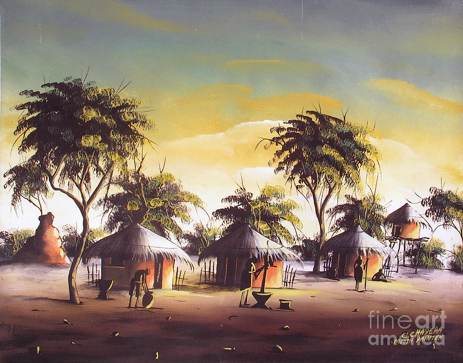 Africa Painting - After Night Fall by Mount painter-Chrisfold Chayera