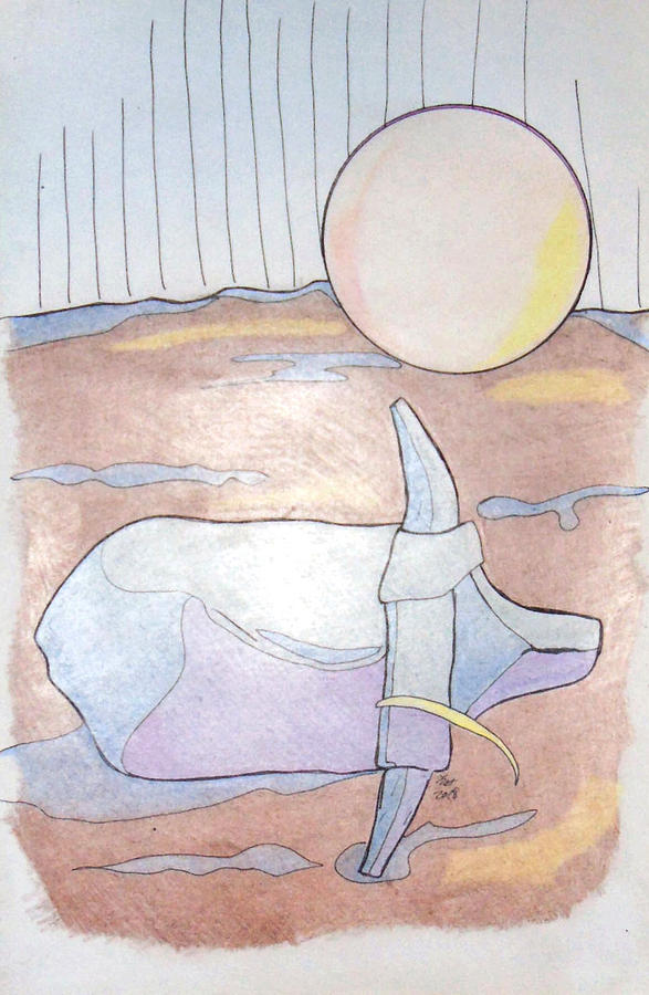 Horse Drawing - After Play by Loretta Nash