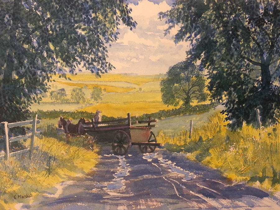 Watercolour Painting - After Rain On The Wolds Way by Glenn Marshall