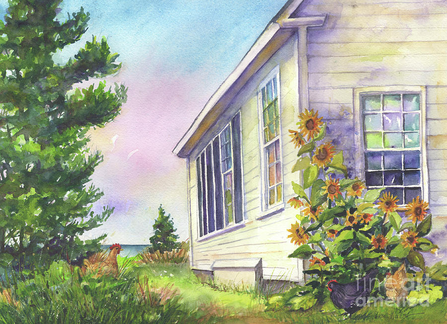 Monhegan Painting - After School Activities At Monhegan School House by Susan Herbst
