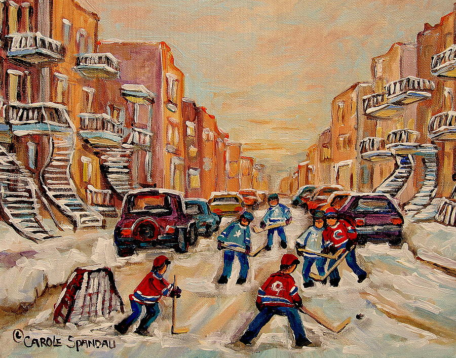 Streetscene Painting - After School Hockey Game by Carole Spandau