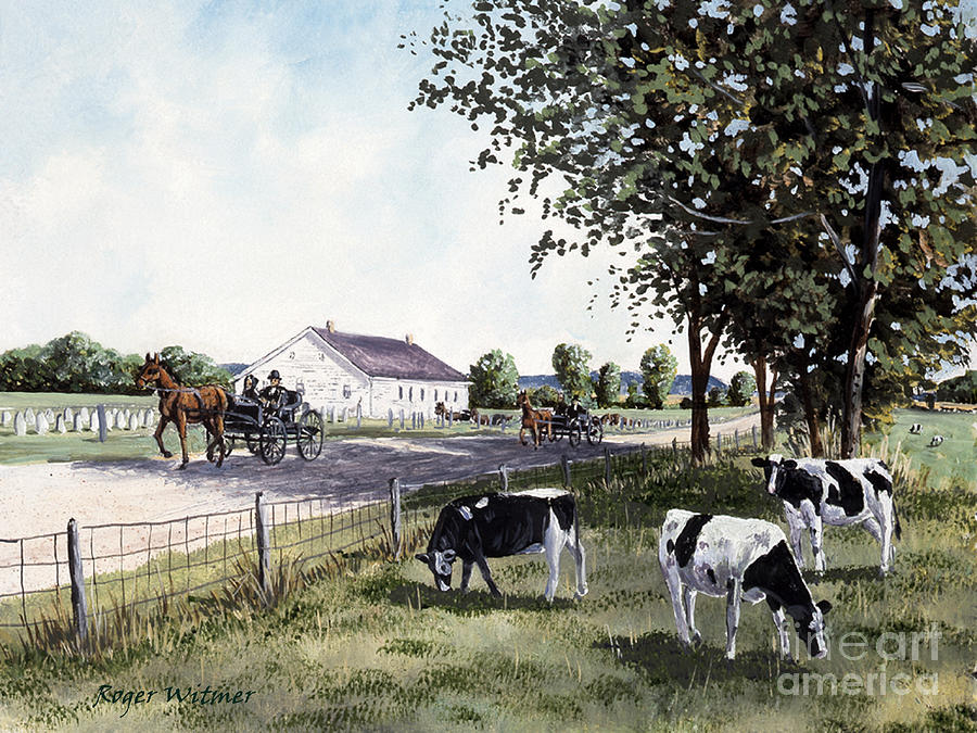Mennonites Painting - After Sunday Service by Roger Witmer