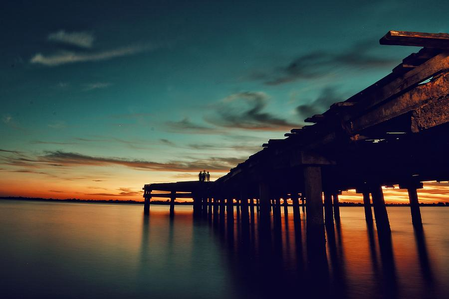 Sun Photograph - After Sunset At The Pier by Rendy Olii