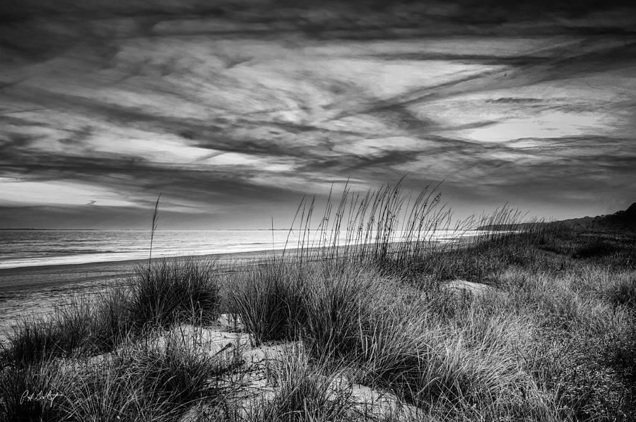 Beach Digital Art - After Sunset In B and W by Phill Doherty