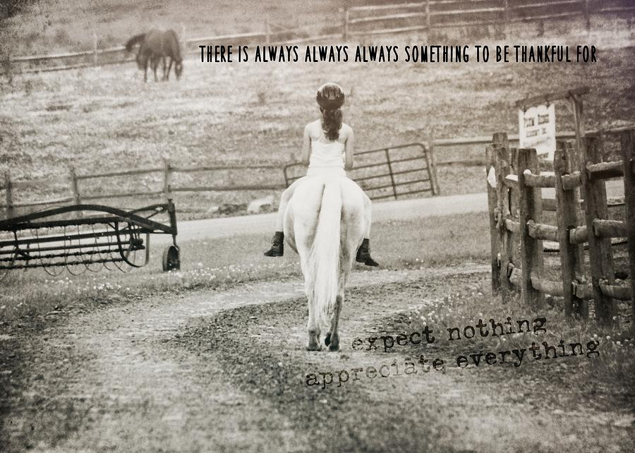 Farm Photograph - After The Ride Quote by JAMART Photography