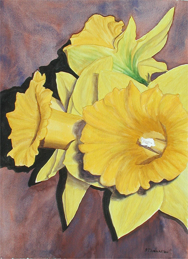 Daffodil Painting - After The Tulips by Robert Thomaston