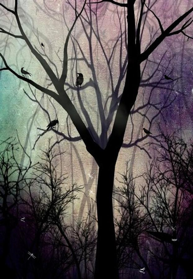Trees Digital Art - After Twilight by Charlene Zatloukal