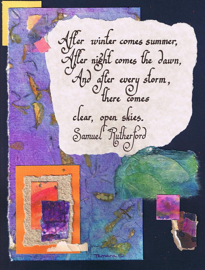 Abstract Painting - After winter comes summer - navy by Tamara Kulish
