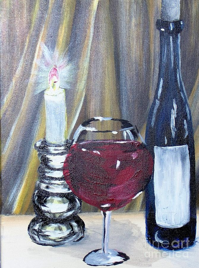 Wine Painting - After Work by Saundra Johnson