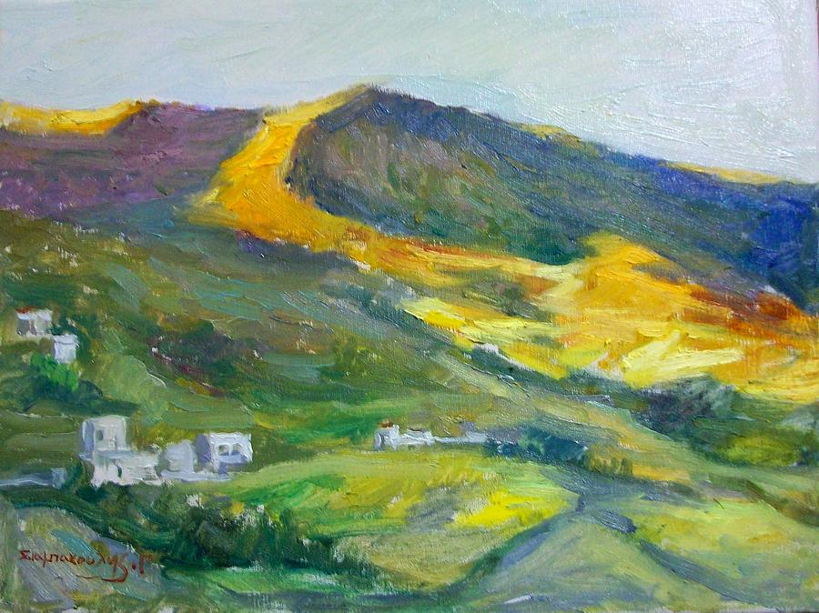 Afternoon.amorgos.greek Islands. Painting - Afternoon Amorgos by George Siaba