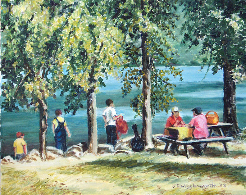 Landscape Painting Painting - Afternoon By The Lake by Jane Wigglesworth