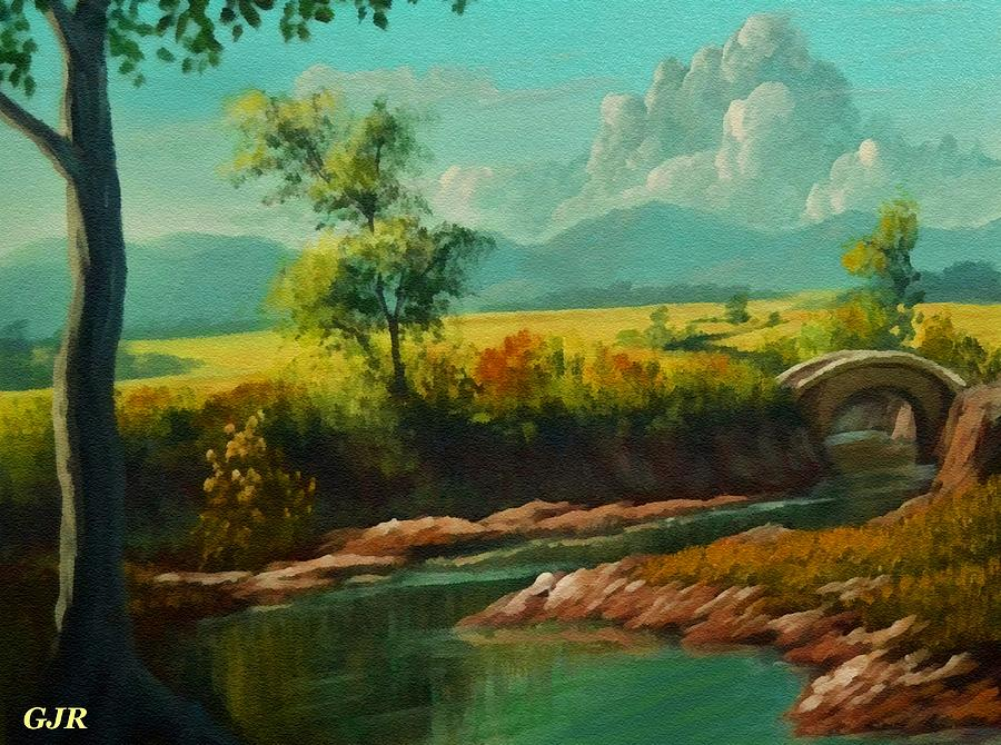 Riverside Digital Art - Afternoon By The River With Peaceful Landscape L A S by Gert J Rheeders