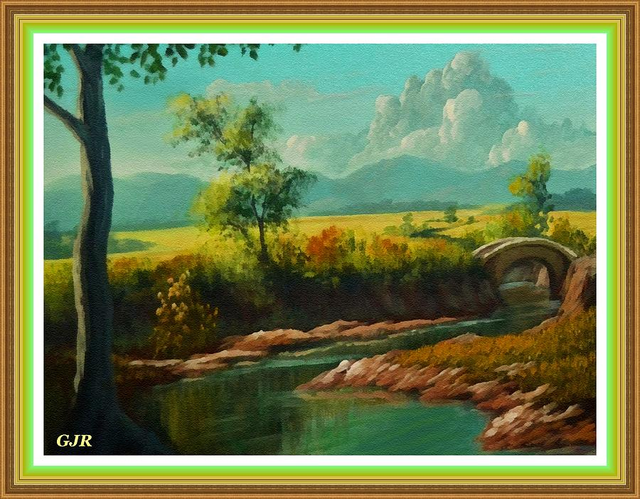 Riverside Digital Art - Afternoon By The River With Peaceful Landscape L A S With Decorative Ornate Printed Frame. by Gert J Rheeders