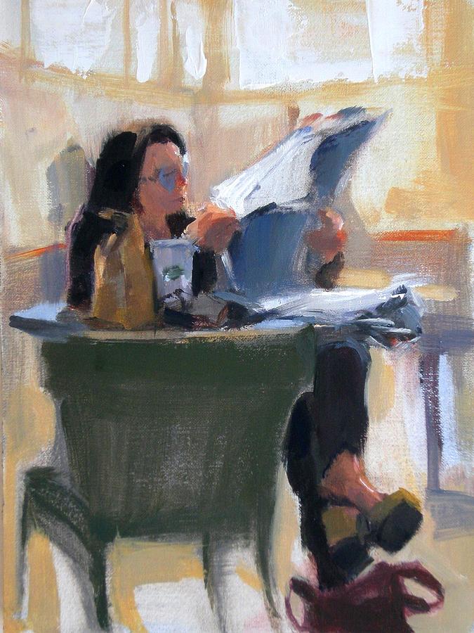 Figurative Painting - Afternoon Coffee Break by Merle Keller