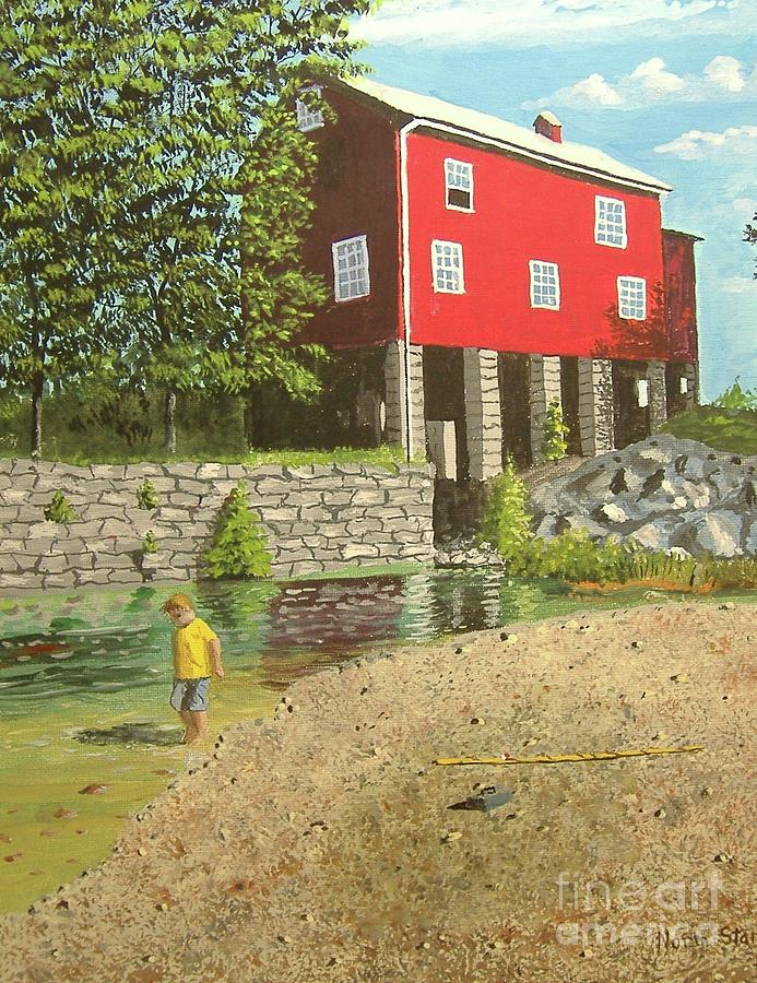 Kid Fishing Painting - Afternoon Delight by Norm Starks