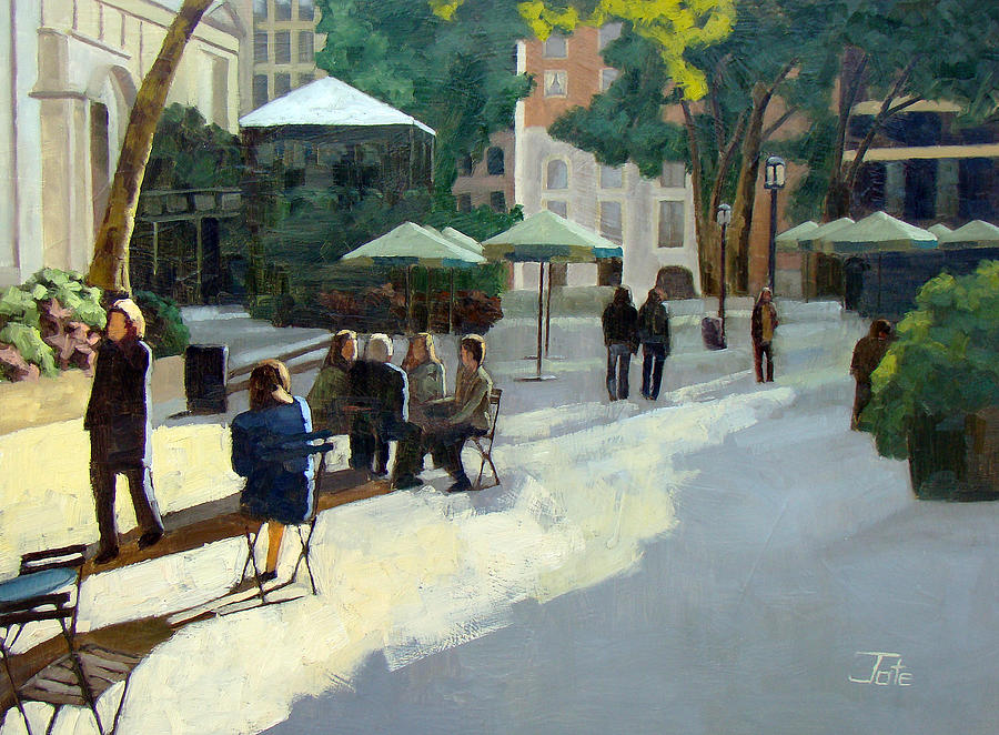 Cityscape Painting - Afternoon In Bryant Park by Tate Hamilton
