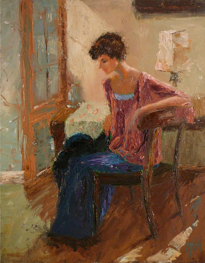 Woman Painting - Afternoon Light by Irena  Jablonski