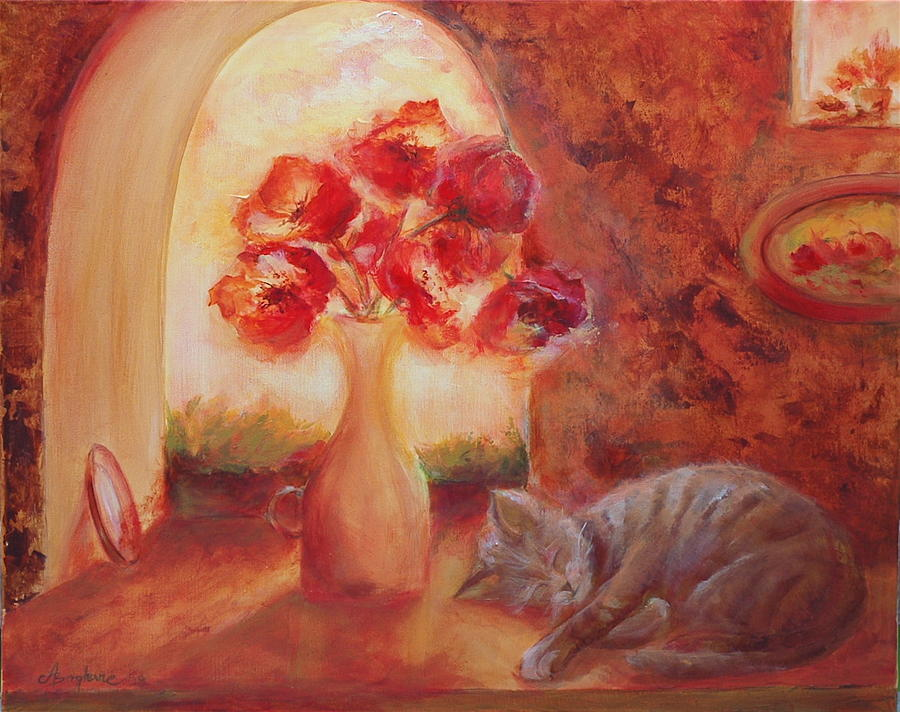 Wall Decor Painting - Afternoon Nap by Aneta  Berghane