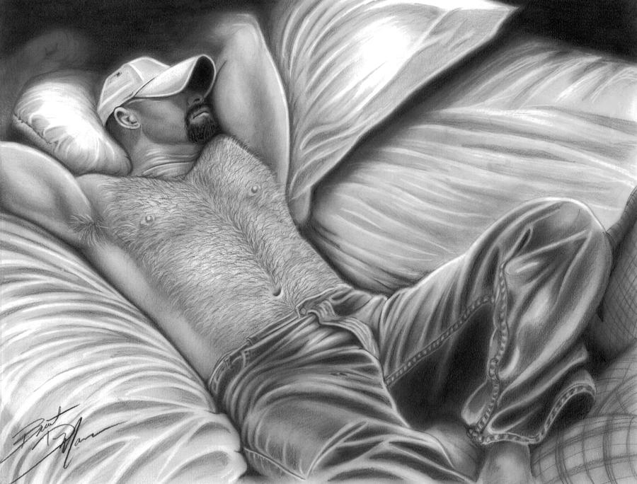 Men Drawing - Afternoon Nap by Brent  Marr