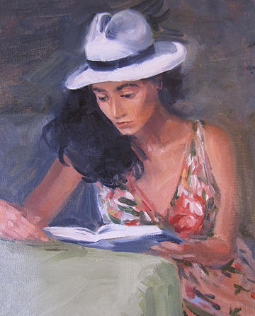 Woman Painting - Afternoon by Neal Smith-Willow