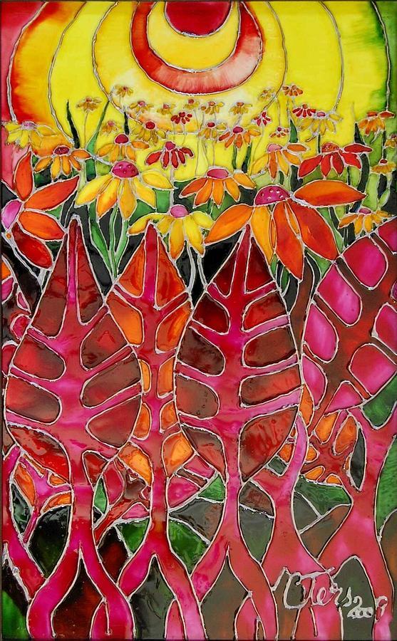 Landscape Glass Art - Afternoon On The Porch by Cornelia Tersanszki