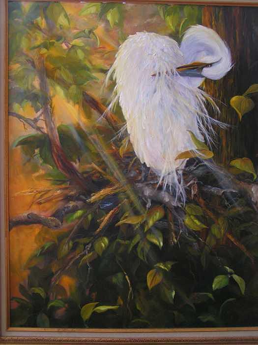 Egret Painting - Afternoon Preening by Kathleen Marshall McConnell