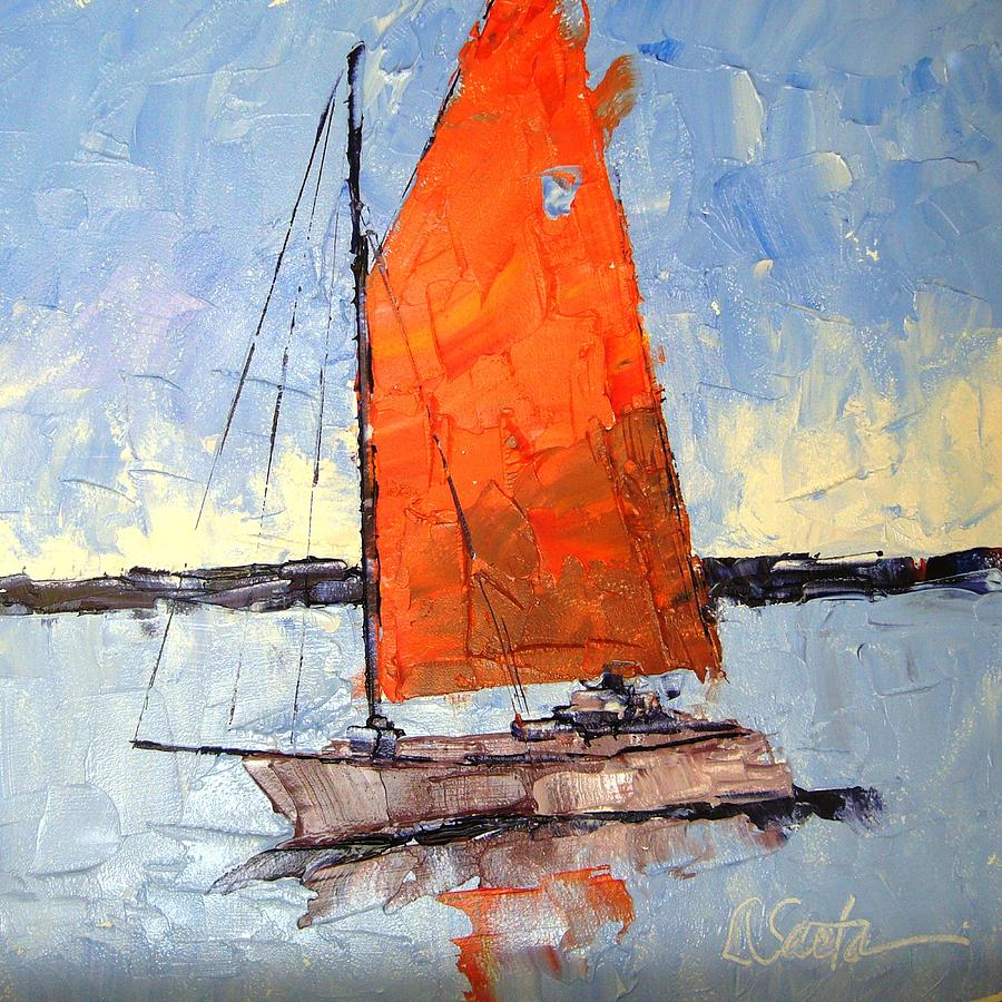 Blue Painting - Afternoon Sail by Leslie Saeta