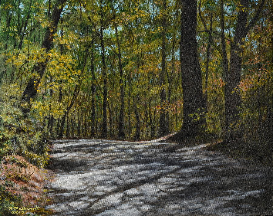 Mountain Road Painting - Afternoon Shadows - Oconne State Park by Kathleen McDermott