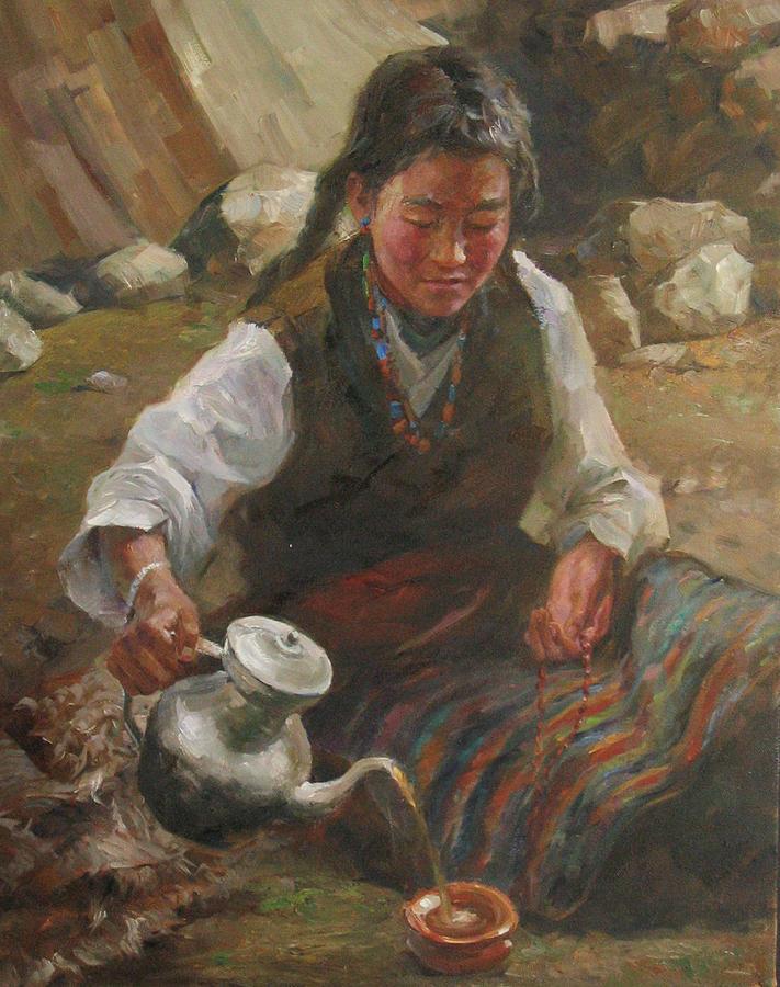 Tibet Painting - Afternoon Tea by Kelvin  Lei