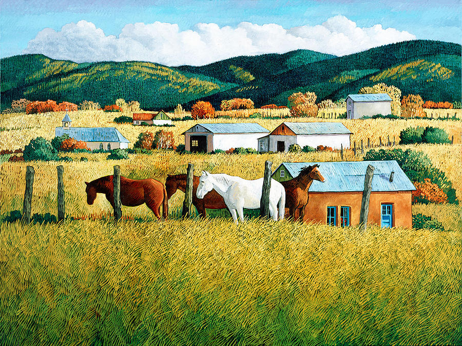 New Mexico Landscape Painting - Afternoon Visitors by Donna Clair