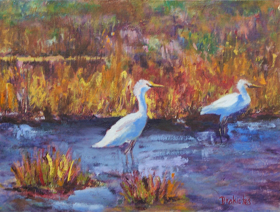 Maine Painting - Afternoon Waders by Alicia Drakiotes