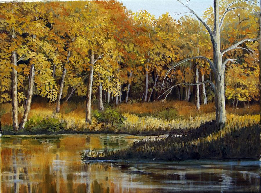 Landscape Painting - Afternoons Golden Light by Lorraine Foster