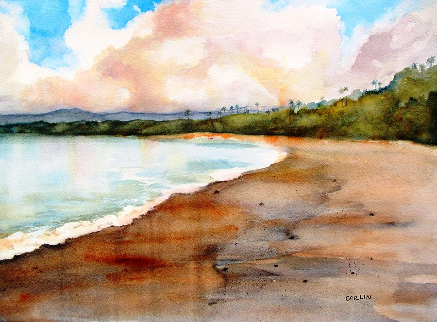 Tropical Beach Painting - Aganoa Beach Savaii by Carlin Blahnik CarlinArtWatercolor