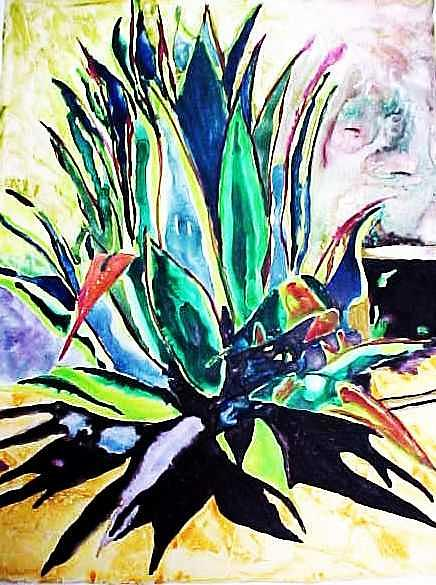 Southwest Painting - Agave on Yupo by Kitty Schwartz