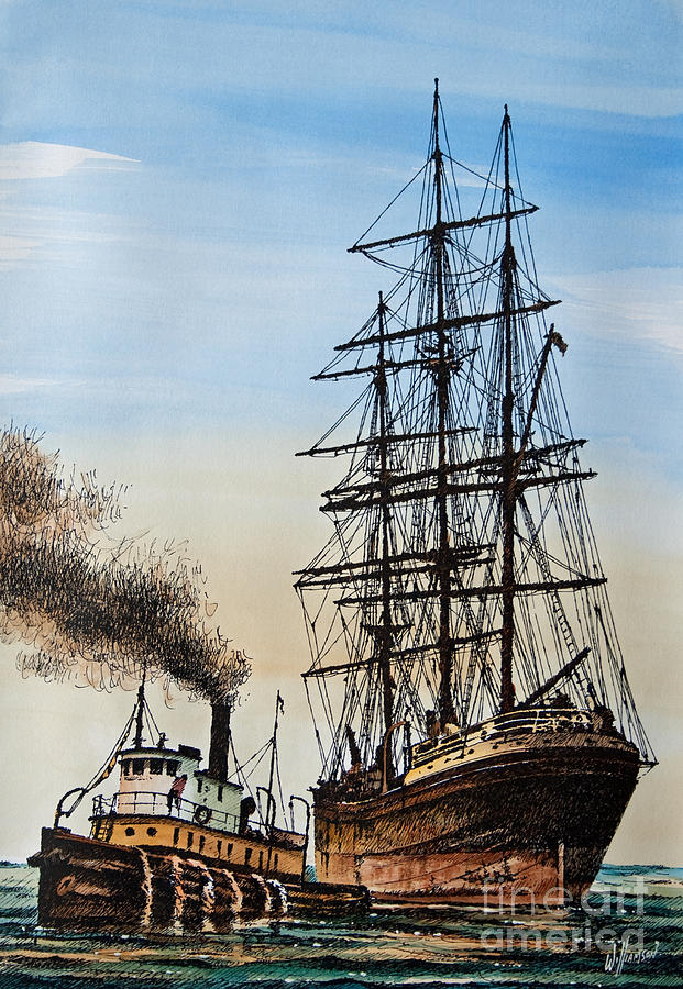 Tugs Painting - Age of Steam and Sail by James Williamson