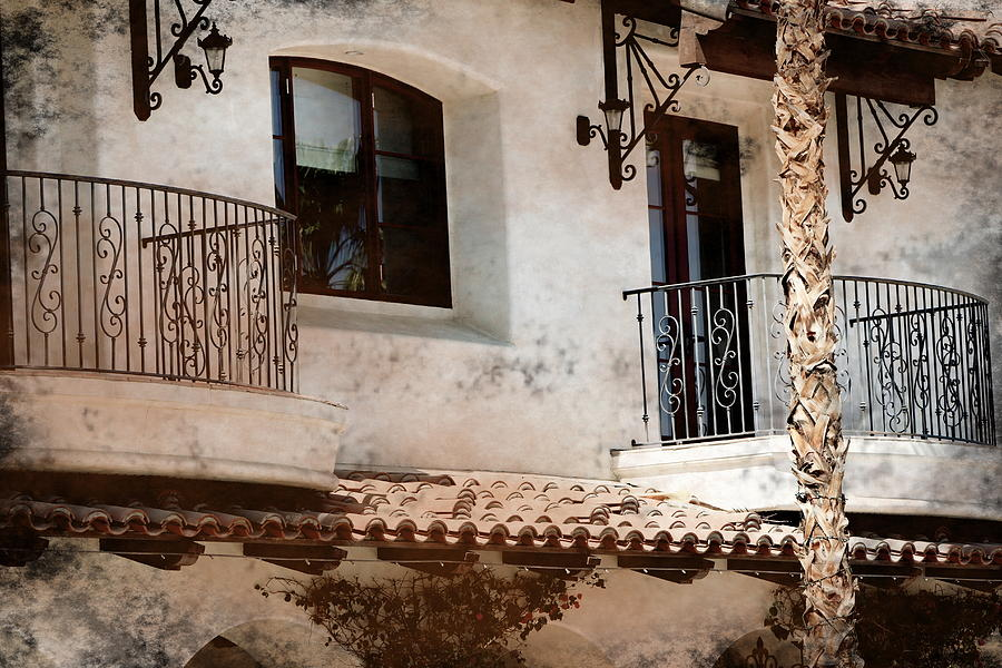Stucco Photograph - Aged Stucco Building Balcony With Terracotta Roof by Colleen Cornelius