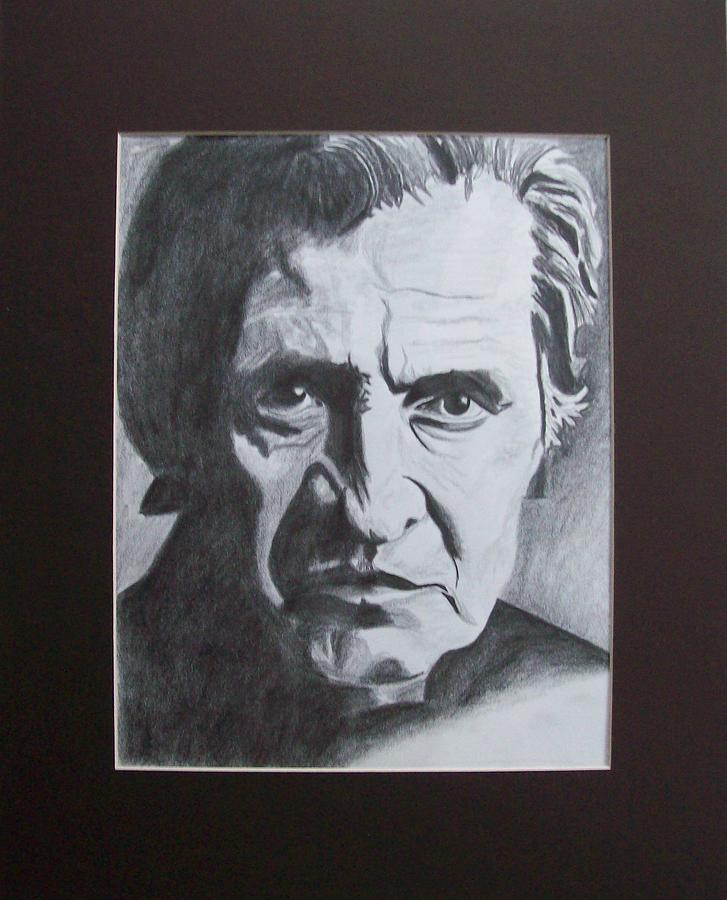 Johnny Cash Drawing - Aging Johnny Cash by Mikayla Ziegler