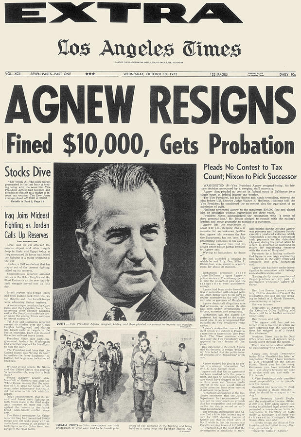 Image result for vp spiro agnew resigns