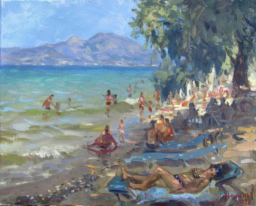 Athens Painting - Agrilesa Beach Athens  by Ylli Haruni