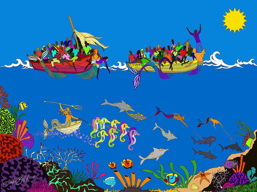Sea Digital Art - Agwe by Dimitri Beaulieu