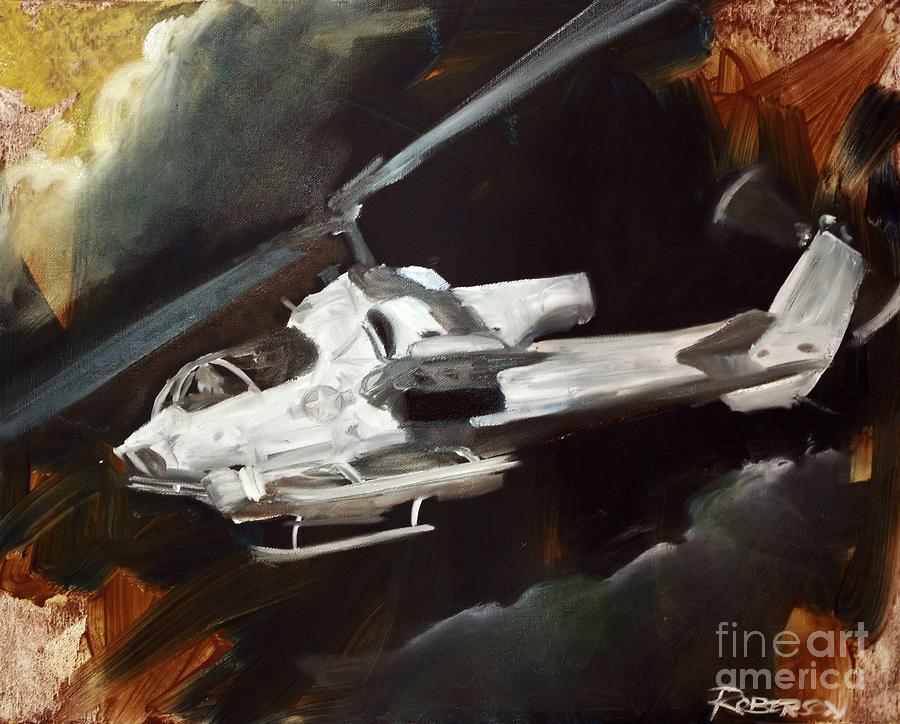 Cobra Painting - Ah-1w Cobra by Stephen Roberson