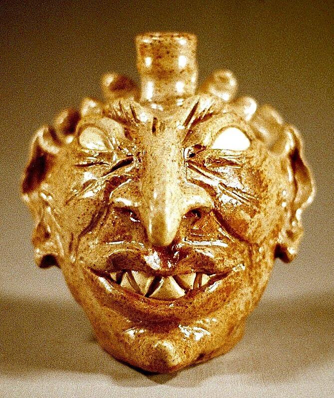 Ash Glaze Ceramic Art - Ahriman As Face Jug by Stephen Hawks