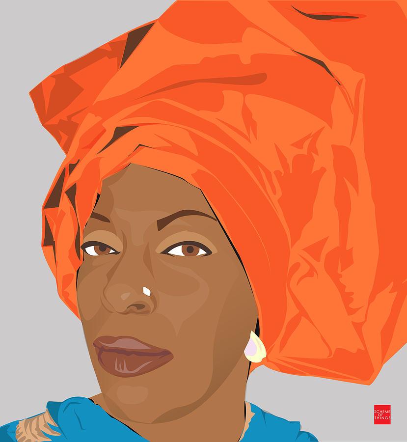 Orange Digital Art - Aidah Fatimaa Rauf by Scheme Of Things