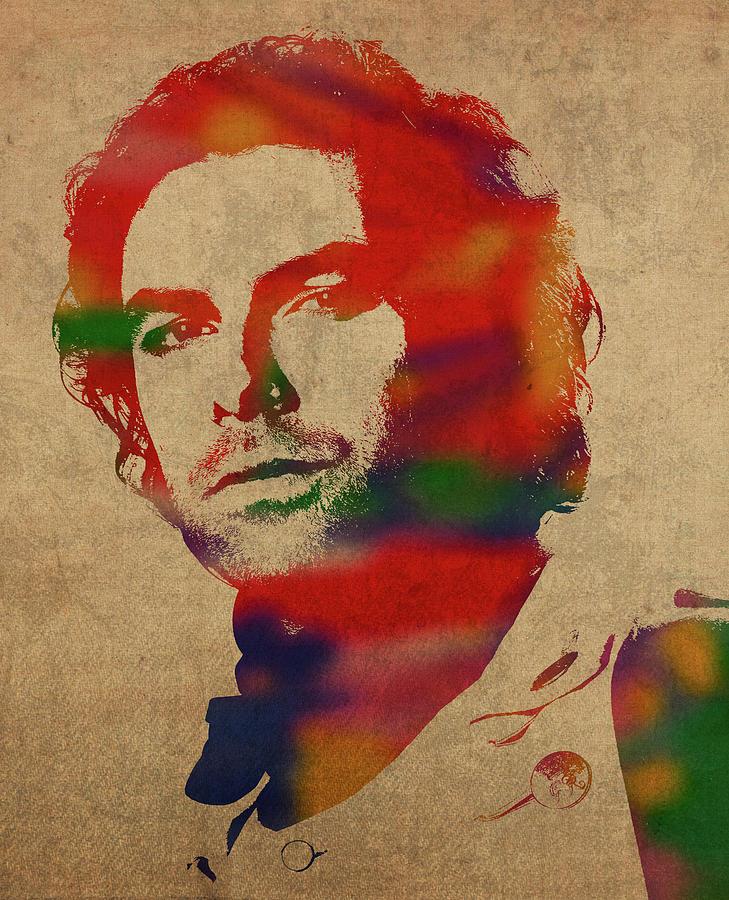 Aidan Turner Mixed Media - Aidan Turner As Poldark Watercolor Portrait by Design Turnpike