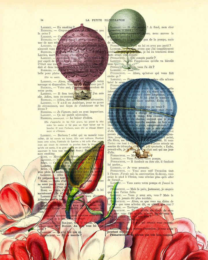 Hot Air Balloon Digital Art - Hot Air Balloons Above Flower Field by Madame Memento