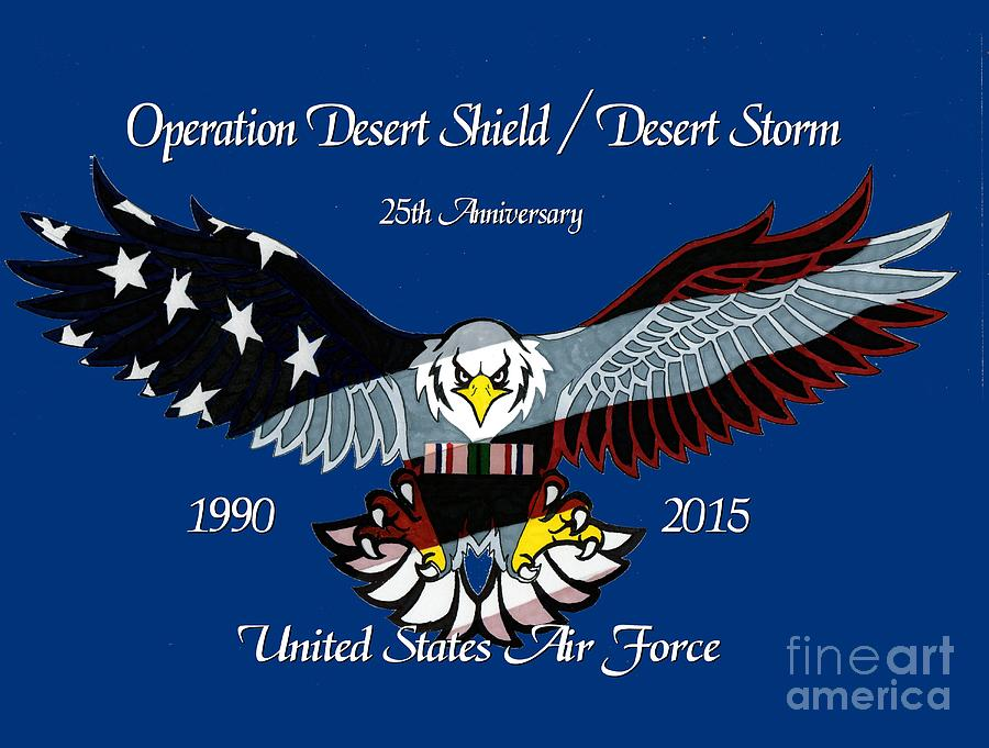 United Drawing - Air Force Desert Storm by Bill Richards