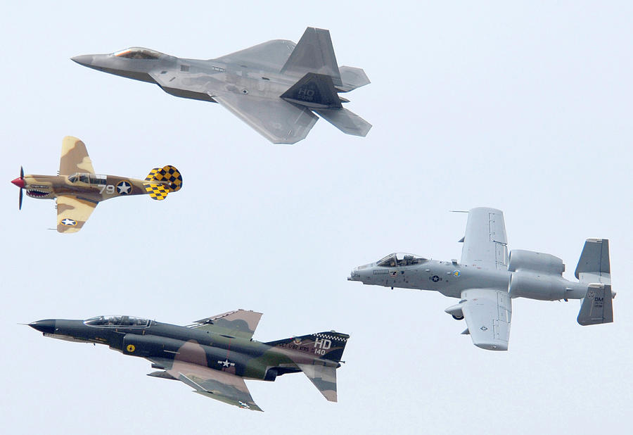 Airplane Photograph - Air Force Heritage Flight Luke Afb Arizona March 19 2011 by Brian Lockett